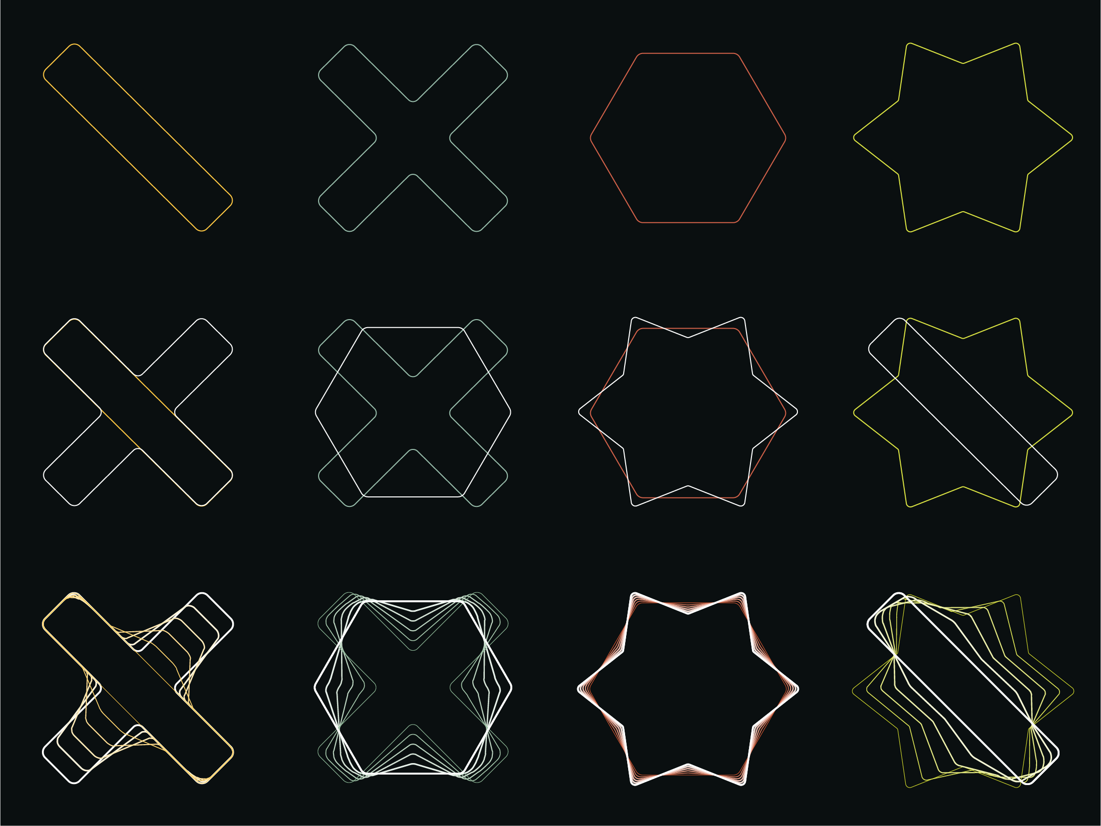 Illustrative elements built from shapes from the logo