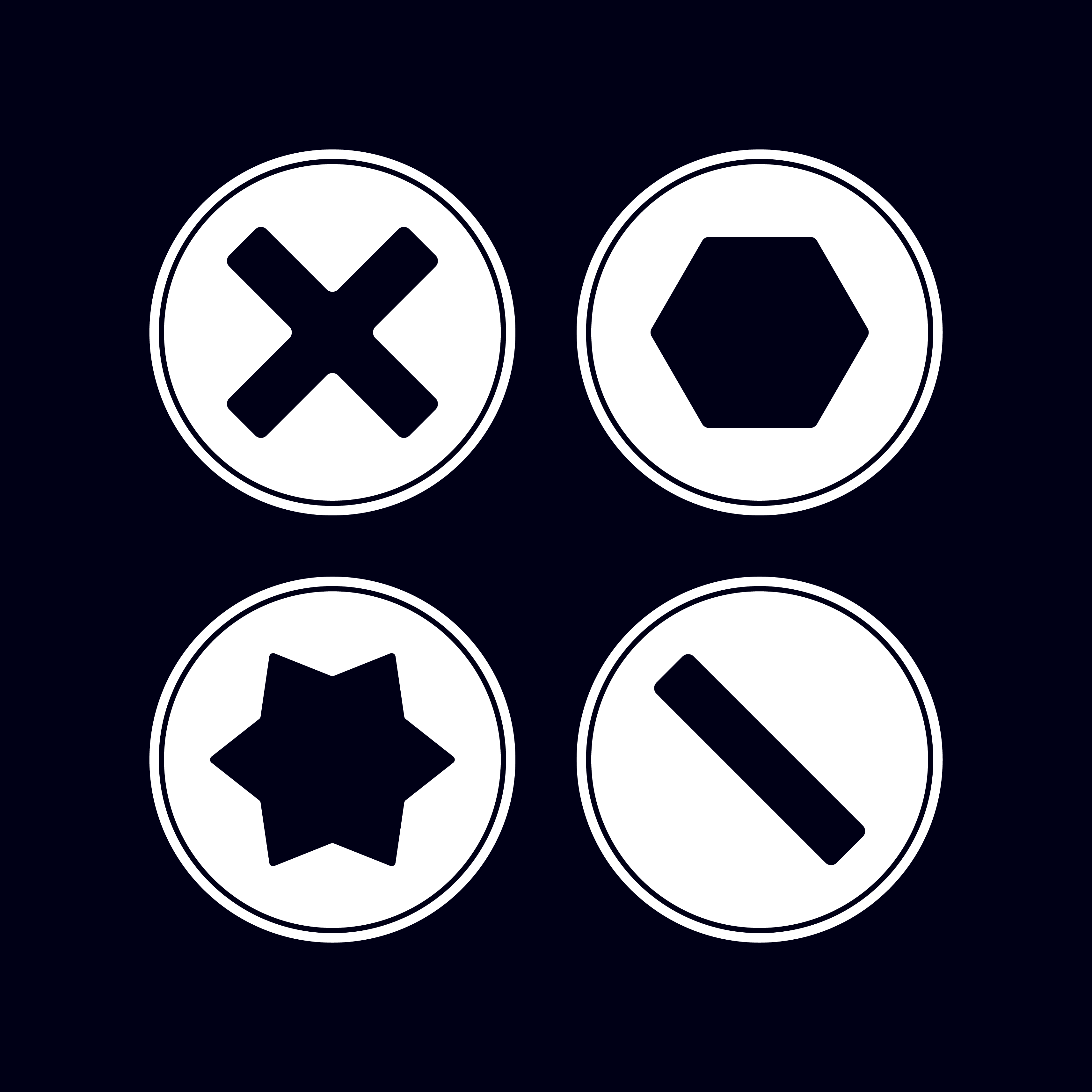 Logo-form inspired by four types of screw heads: Frearson, Hex, Torx and Slotted