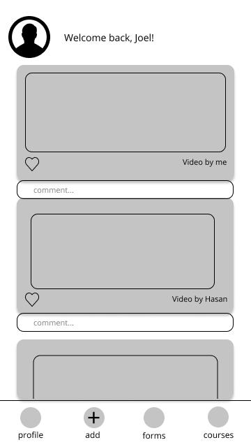 Low Fidelity Wireframe: home screen
