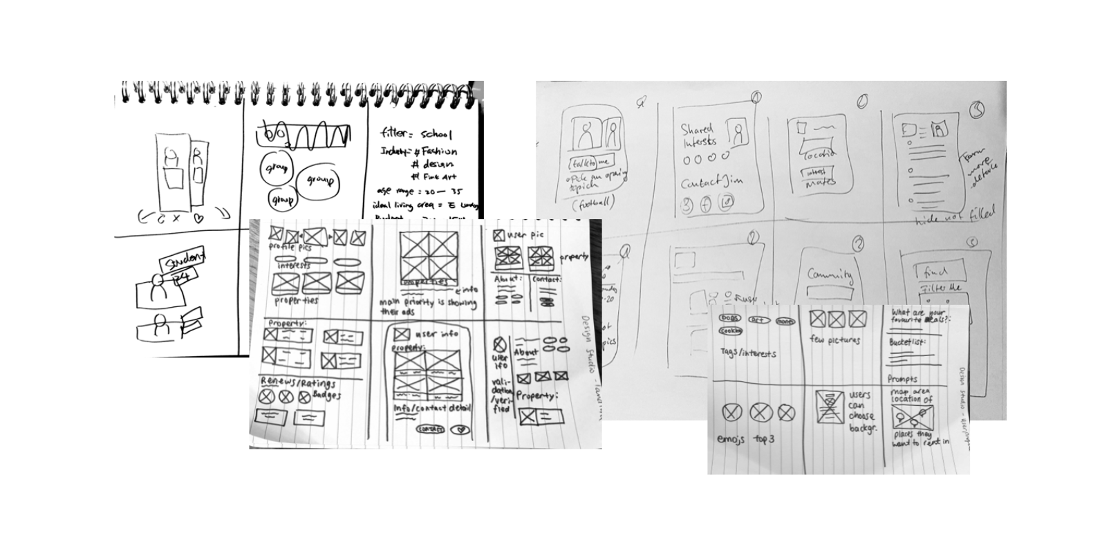We engaged in a design studio to brainstorm as many features as possible
