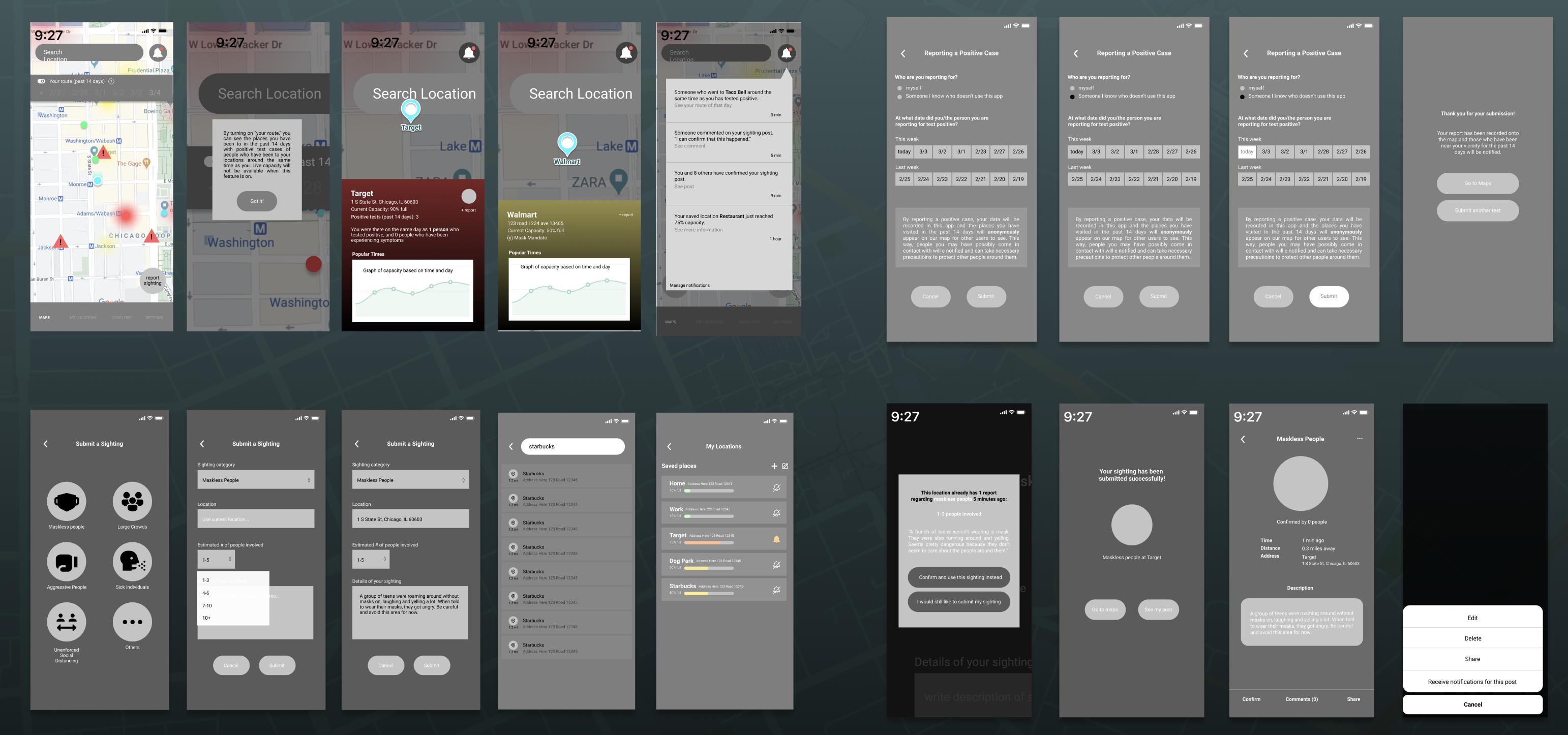 Midfi prototype screens (click to expand)