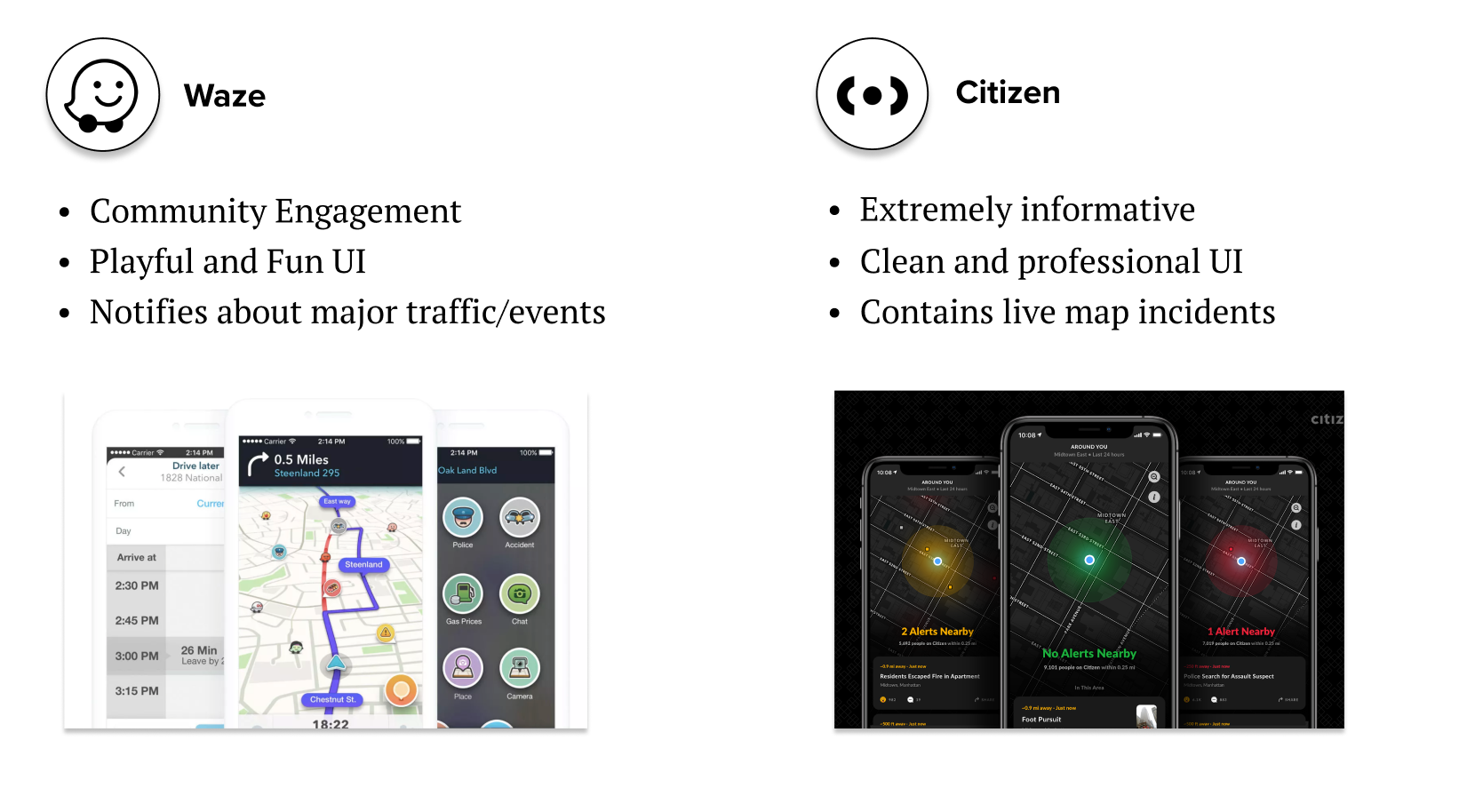 Waze and Citizen (open to expand)
