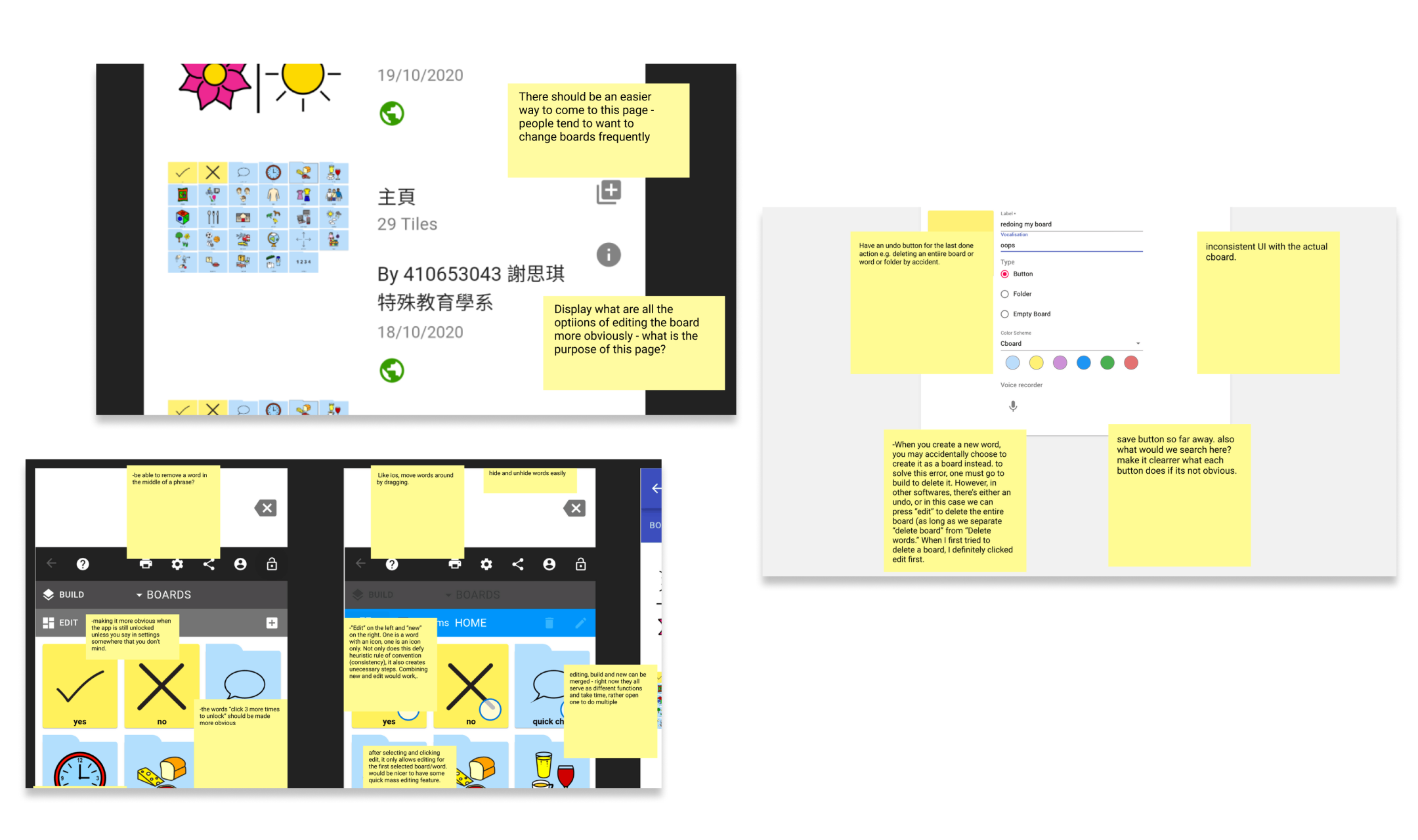 Some screenshots of feedback from users regarding CBoard's customization and edit mode into sticky notes.