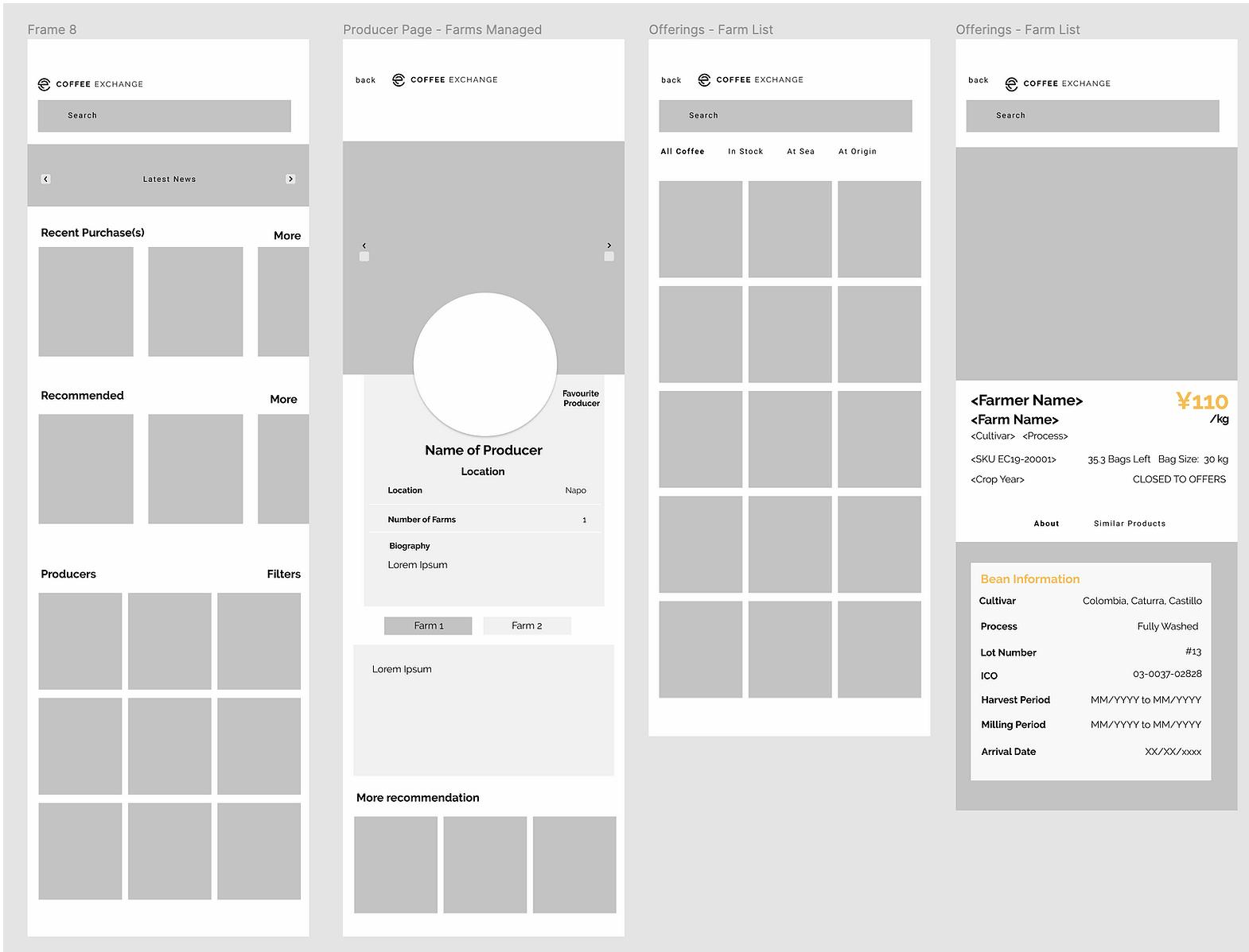 Some of the lofi prototype screen