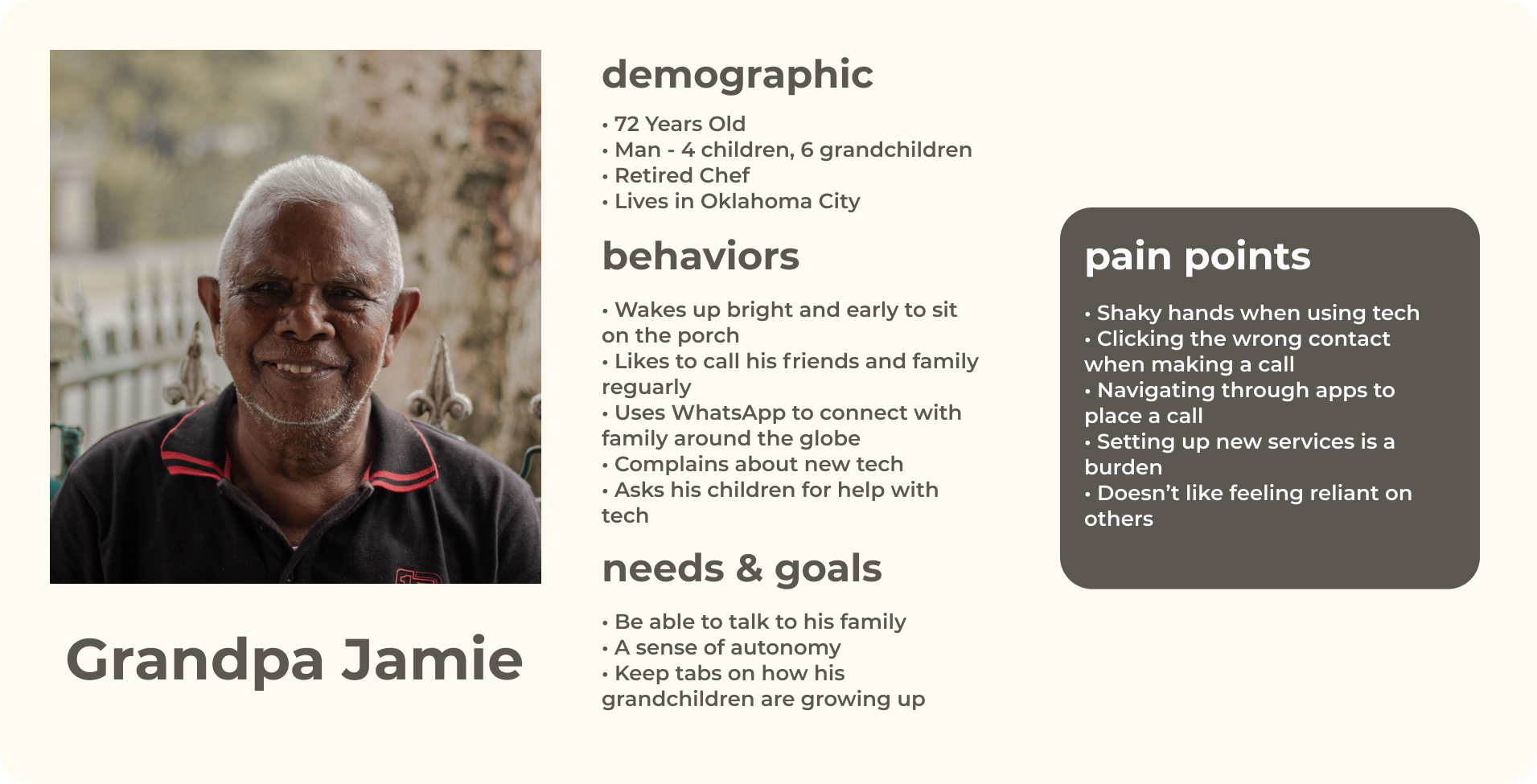 Grandpa Jamie is the primary persona for SquareFace