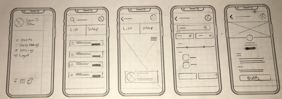 With a pencil and paper, I drafted ideas to demonstrate the flow of the first few screens from searching residential homes or businesses, filtering results, and viewing whose available for you to reserve a space.