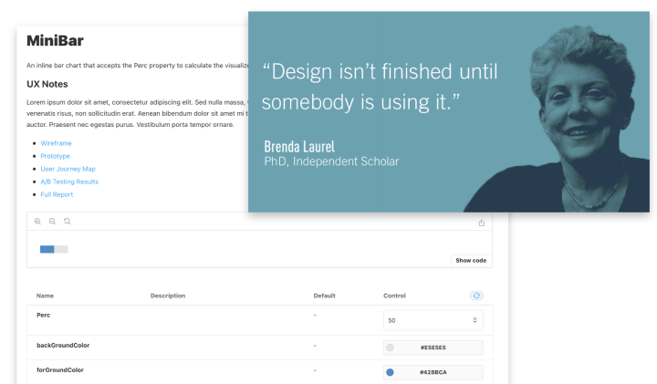 Artifacts can be exposed within Design System documentation.