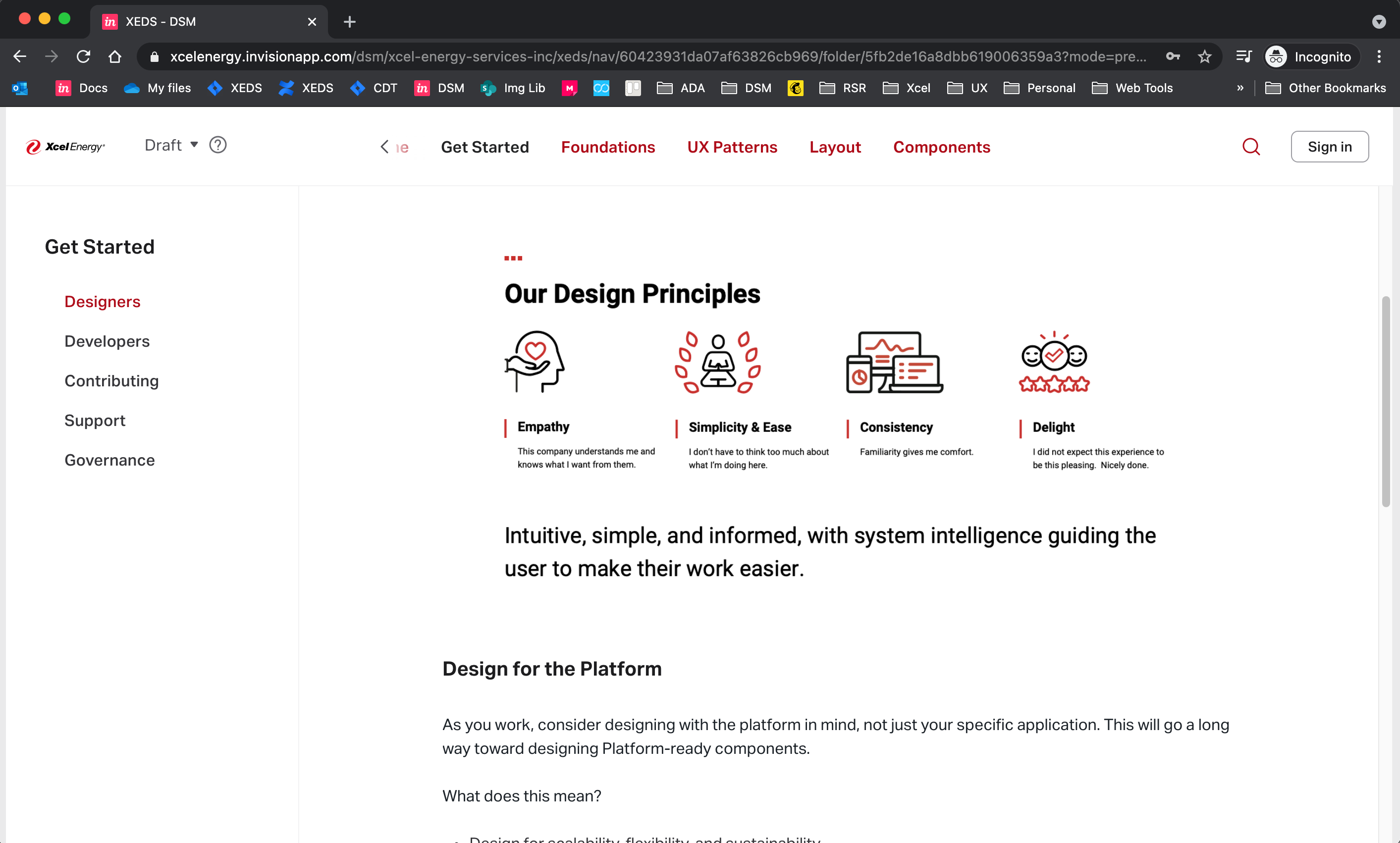 The Xcel Energy Design system on Invision DSM