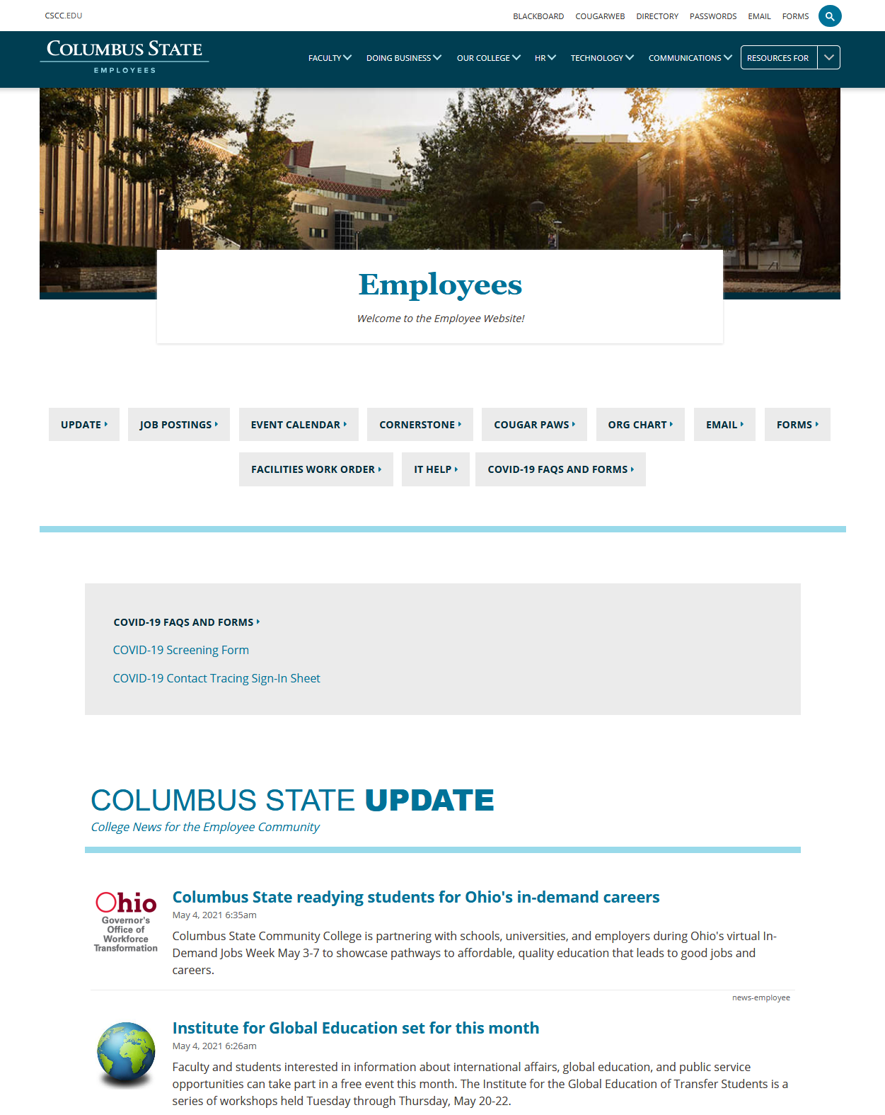 Employee Website home page
