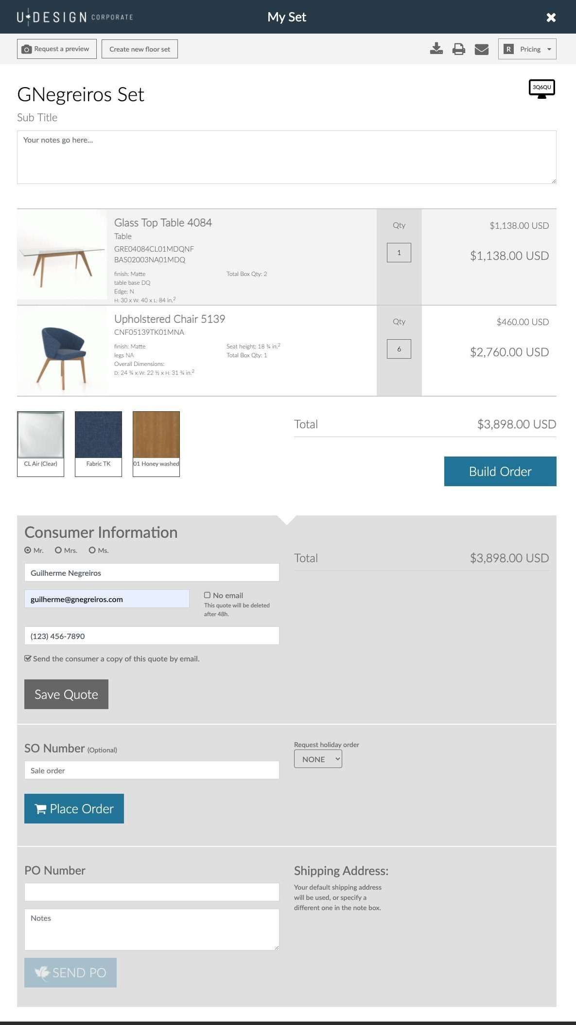 The business user can now switch from the assembly page to a quote, order and submit the order.