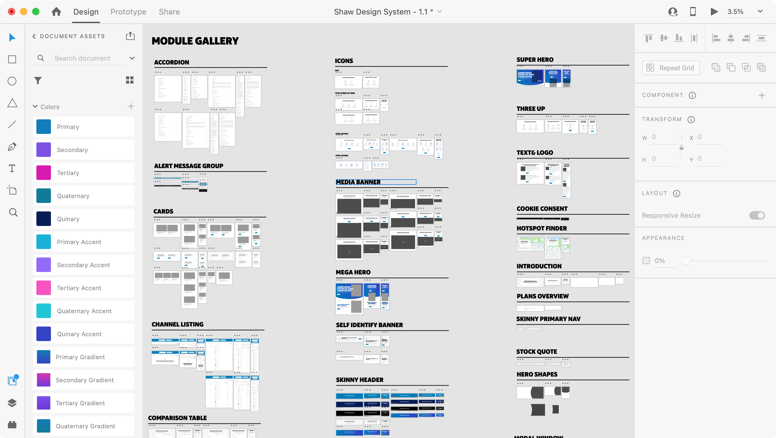 The Adobe XD pattern library