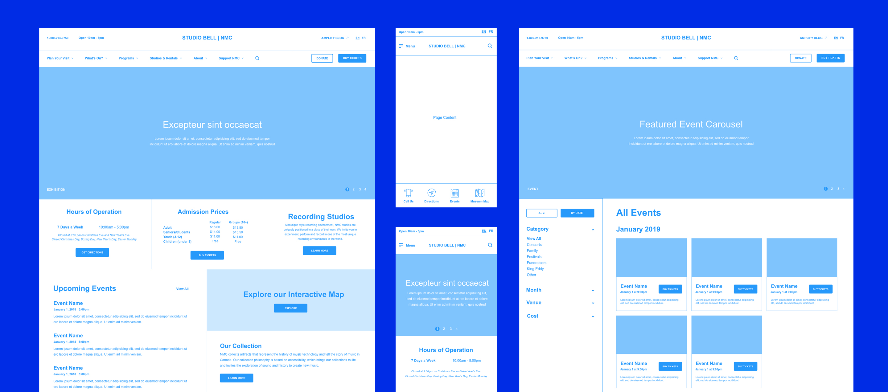 Examples of the wireframes included in the digital strategy