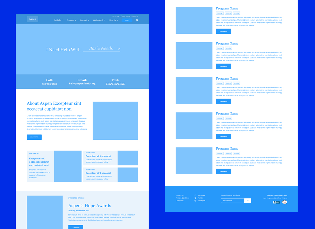 An example of the final wireframes