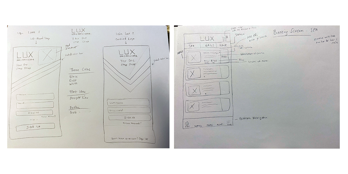 LUX Sketches of the Login and Booking Screen