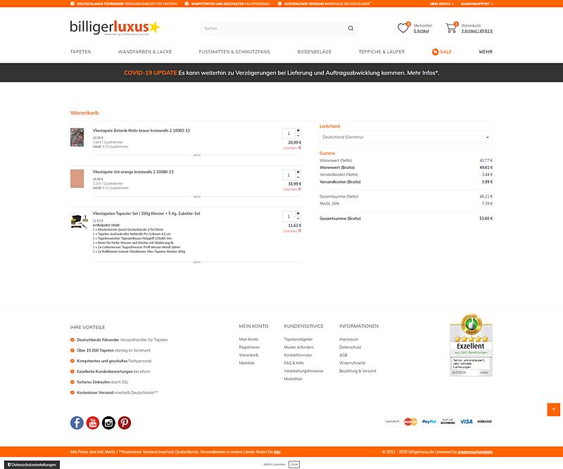 Billigerluxus – der Online-Shop für Tapeten, Wandfarben und Wohndesign 7
