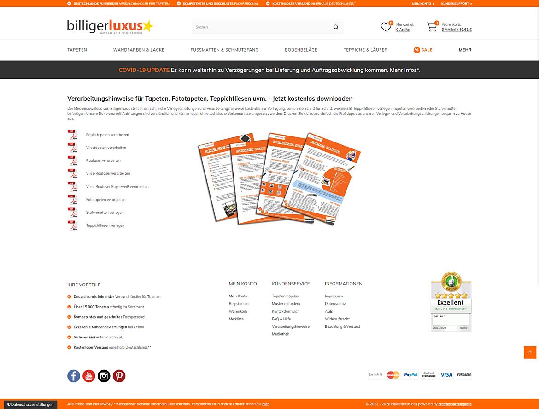 Billigerluxus – der Online-Shop für Tapeten, Wandfarben und Wohndesign 1