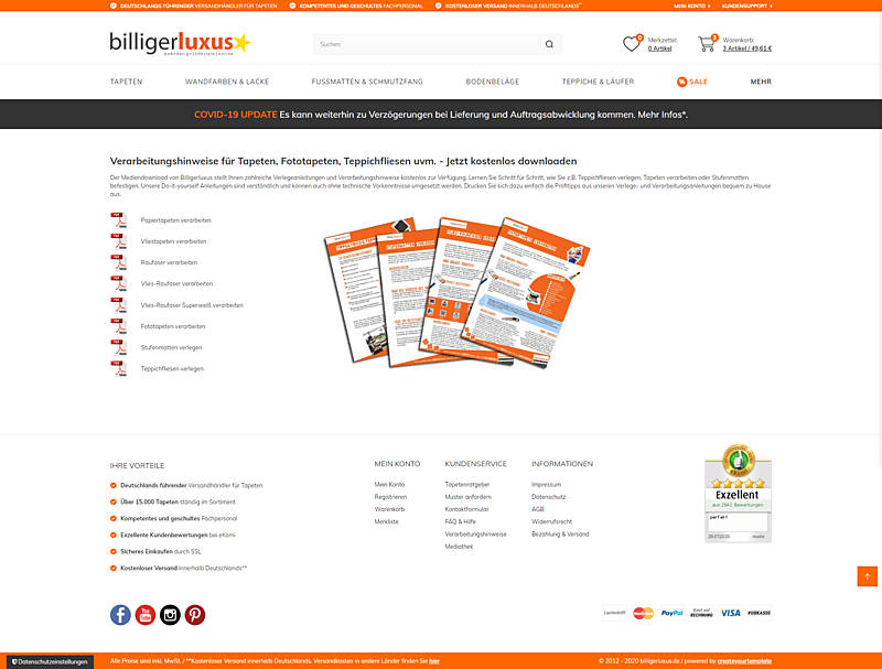 Billigerluxus – der Online-Shop für Tapeten, Wandfarben und Wohndesign 6