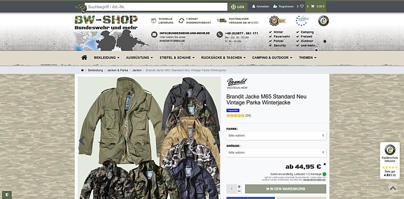BW-Shop - Bundeswehr und mehr 2