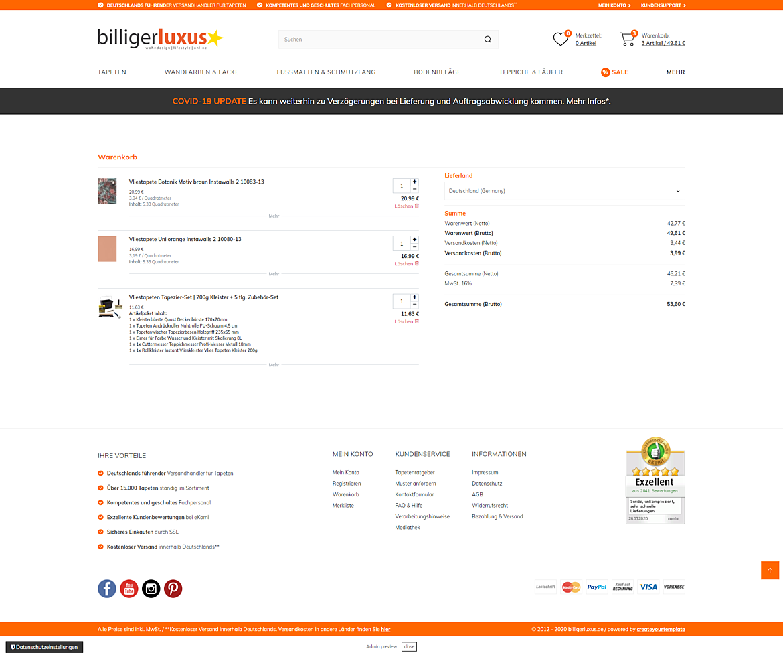 Billigerluxus – der Online-Shop für Tapeten, Wandfarben und Wohndesign 2