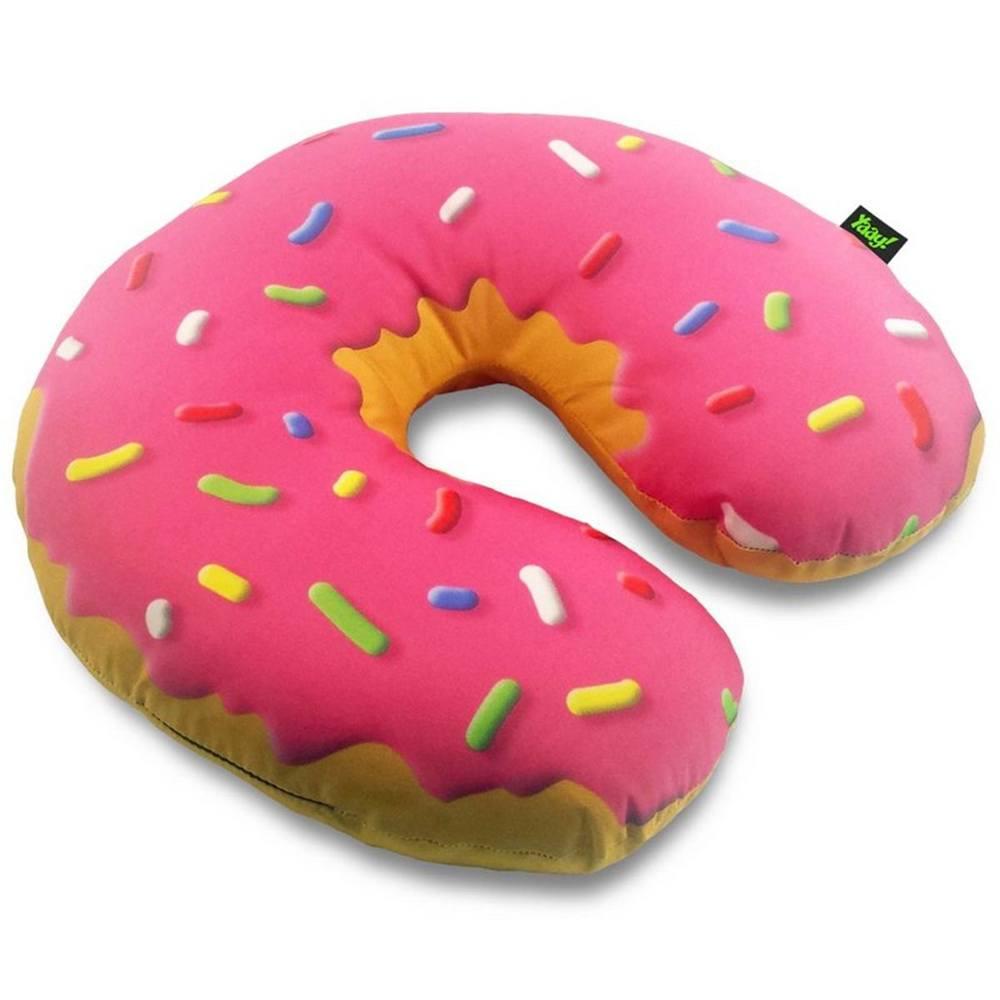 Almofada de Pescoço Rosquinha Donut - Morango - 40 x 40 cm