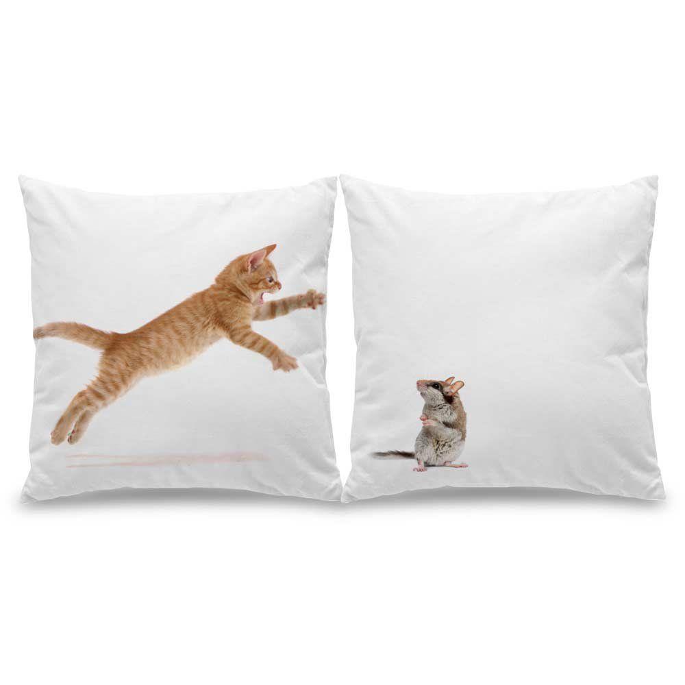Jogo de Almofadas Gato e Rato - 40 x 40 cm