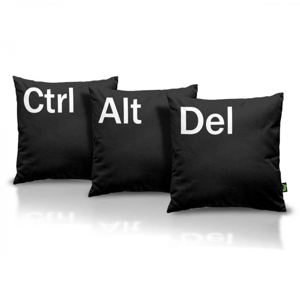 Kit Jogo Almofadas Ctrl + Alt + Del - Preta