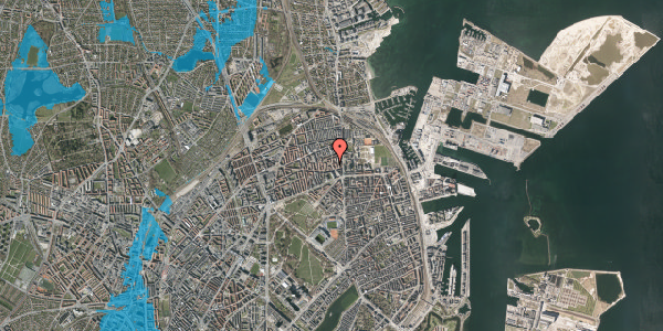Oversvømmelsesrisiko fra vandløb på Stakkesund 4B, 2100 København Ø
