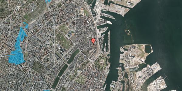 Oversvømmelsesrisiko fra vandløb på Aggersborggade 1, st. th, 2100 København Ø