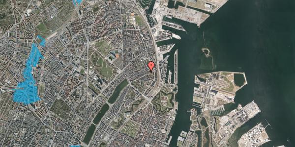 Oversvømmelsesrisiko fra vandløb på Aggersborggade 2, 1. th, 2100 København Ø