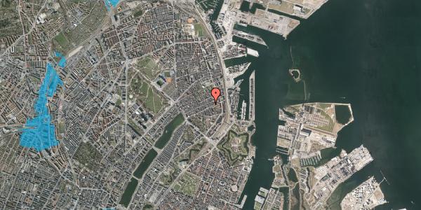 Oversvømmelsesrisiko fra vandløb på Aggersborggade 3, 3. th, 2100 København Ø