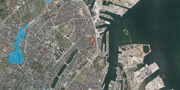 Oversvømmelsesrisiko fra vandløb på Aggersborggade 4, 3. th, 2100 København Ø