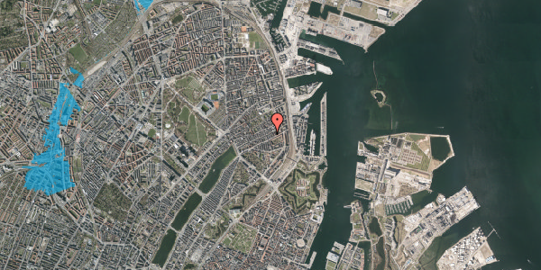 Oversvømmelsesrisiko fra vandløb på Aggersborggade 6, 2. tv, 2100 København Ø
