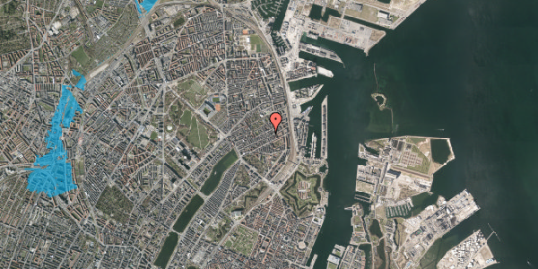Oversvømmelsesrisiko fra vandløb på Aggersborggade 7, st. tv, 2100 København Ø