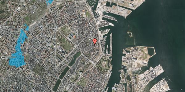 Oversvømmelsesrisiko fra vandløb på Aggersborggade 8, 3. th, 2100 København Ø
