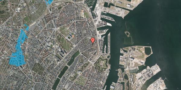 Oversvømmelsesrisiko fra vandløb på Aggersborggade 10, 3. tv, 2100 København Ø