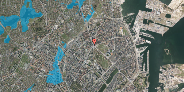 Oversvømmelsesrisiko fra vandløb på Aldersrogade 1, st. , 2100 København Ø