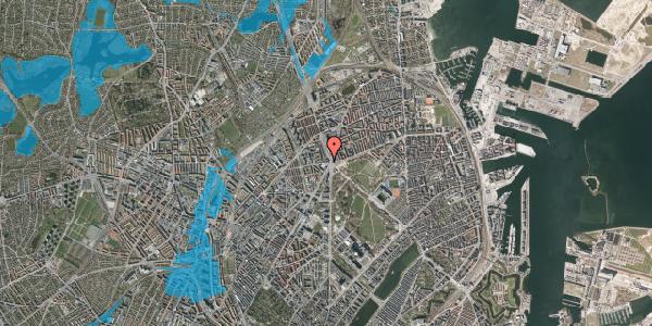 Oversvømmelsesrisiko fra vandløb på Aldersrogade 4, 2. tv, 2100 København Ø