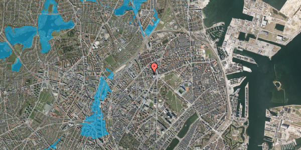Oversvømmelsesrisiko fra vandløb på Aldersrogade 6D, kl. th, 2100 København Ø