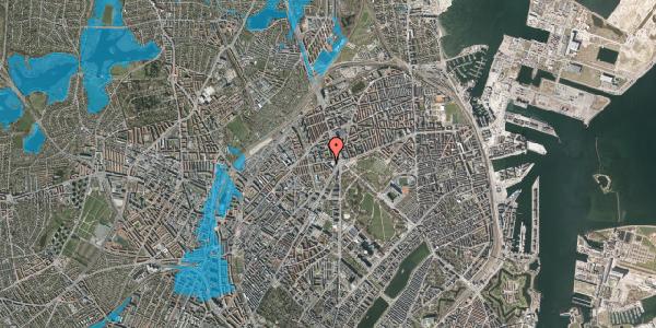 Oversvømmelsesrisiko fra vandløb på Aldersrogade 11, 2. tv, 2100 København Ø
