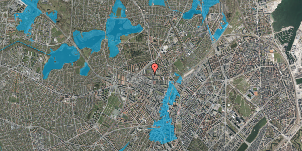 Oversvømmelsesrisiko fra vandløb på Birkedommervej 3, 3. th, 2400 København NV
