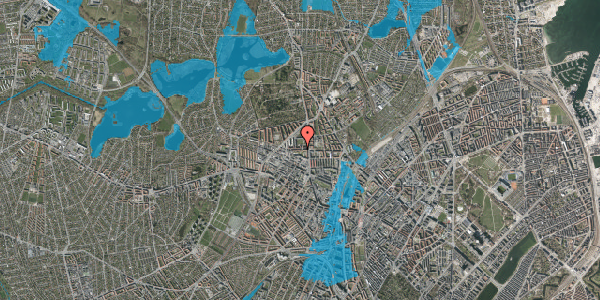 Oversvømmelsesrisiko fra vandløb på Birkedommervej 9, 3. th, 2400 København NV