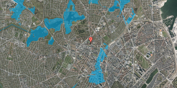 Oversvømmelsesrisiko fra vandløb på Birkedommervej 14, st. tv, 2400 København NV