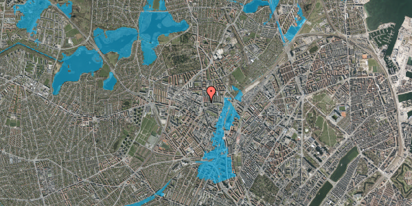 Oversvømmelsesrisiko fra vandløb på Bisiddervej 8, 4. th, 2400 København NV