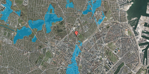 Oversvømmelsesrisiko fra vandløb på Bispebjerg Bakke 1, 1. 100, 2400 København NV