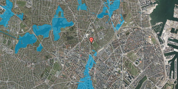 Oversvømmelsesrisiko fra vandløb på Bispebjerg Bakke 9, 6. 605, 2400 København NV