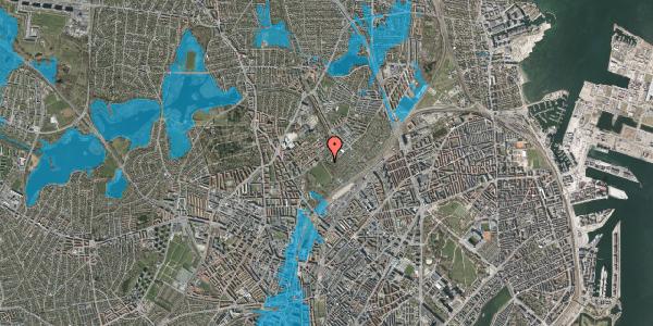 Oversvømmelsesrisiko fra vandløb på Bispebjerg Bakke 18C, st. tv, 2400 København NV