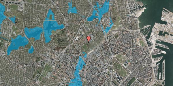 Oversvømmelsesrisiko fra vandløb på Bispebjerg Bakke 18F, 2. tv, 2400 København NV