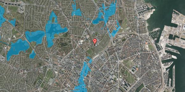 Oversvømmelsesrisiko fra vandløb på Bispebjerg Bakke 18K, st. th, 2400 København NV