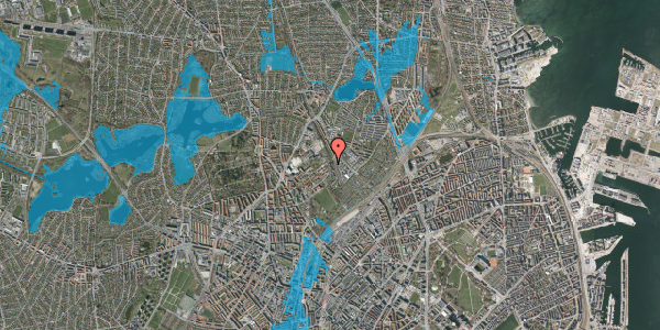 Oversvømmelsesrisiko fra vandløb på Bispebjerg Bakke 22F, 2. tv, 2400 København NV
