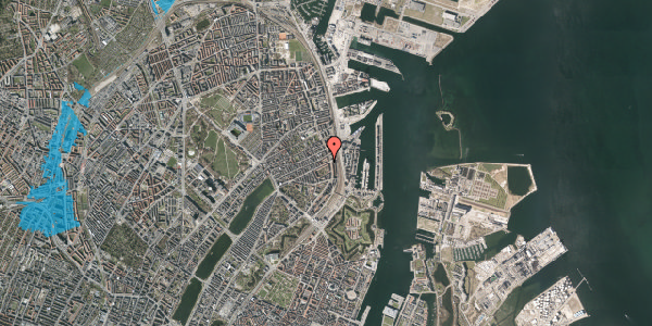 Oversvømmelsesrisiko fra vandløb på Classensgade 65, 2. mf, 2100 København Ø